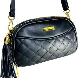 Joy & Iman Black Quilted Leather Crossbody Bag